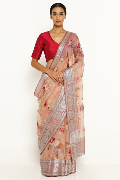 Via East pale pink pure silk kota saree with all over floral print