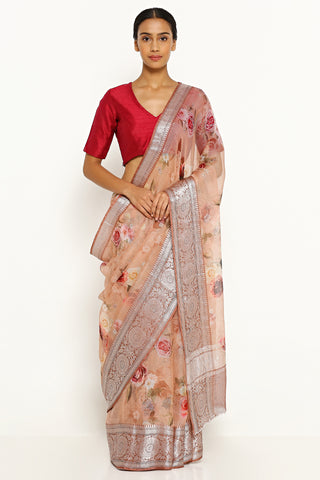 Pale Peach Pure Silk Kota Saree with All Over Floral Print