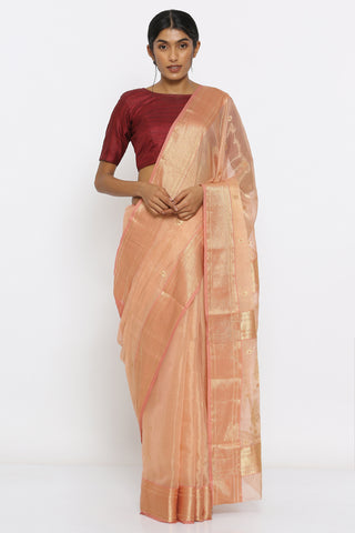 Blush Pink Handwoven Silk Tissue Chanderi Saree with All Over Zari Motifs