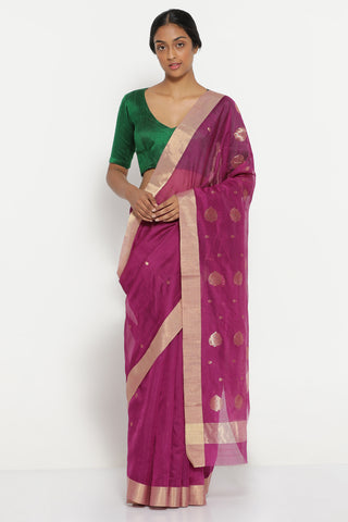 Purple Handloom Pure Silk Cotton Chanderi Saree with Solid Gold Tissue Border