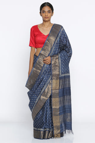 Indigo Blue Handloom Pure Tussar Silk Saree with All Over Traditional Block Print