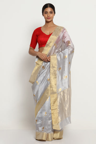 Via East grey handloom pure silk chanderi saree with all over motifs and rich gold zari border