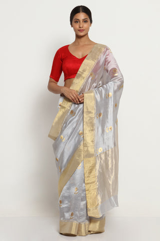 Grey Handloom Pure Silk Chanderi Saree with All Over Motifs and Rich Gold Zari Border