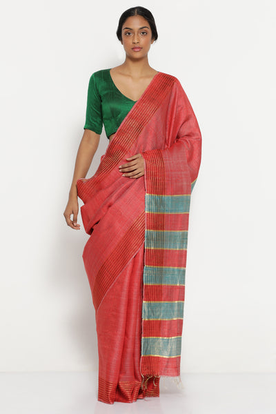 Via East red melange handloom pure tussar silk saree with patterned border