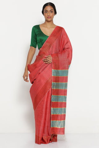 Red Melange Handloom Pure Tussar Silk Saree with Patterned Border