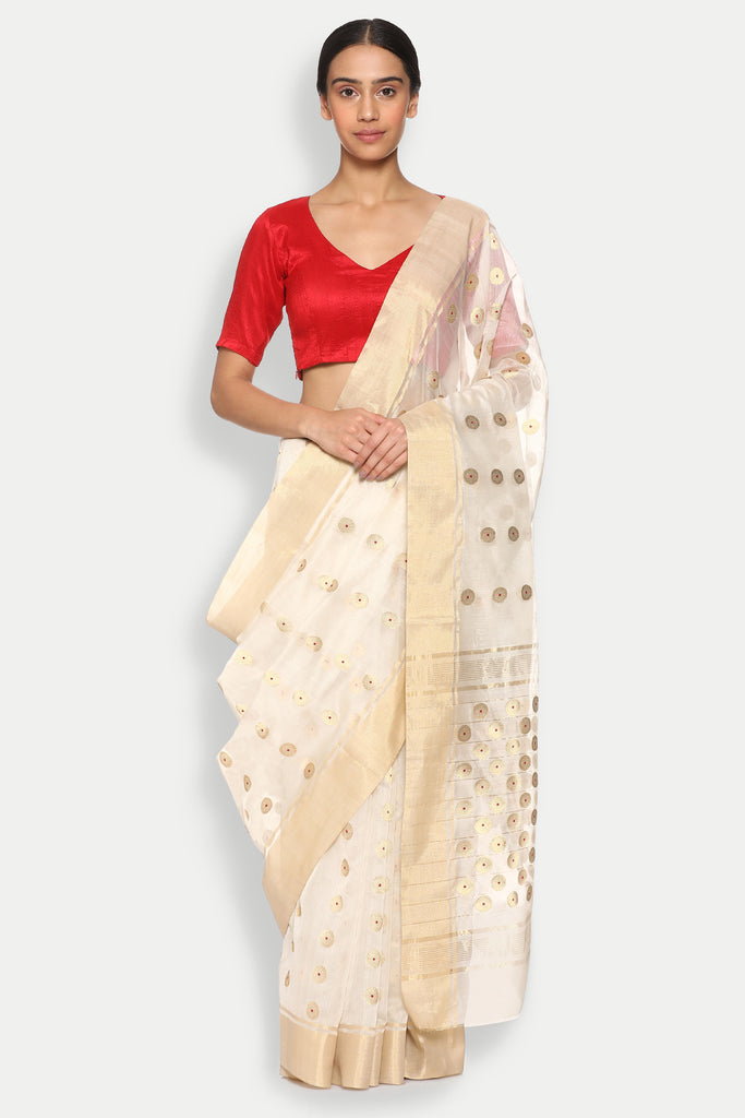 Ivory White Handloom Silk Cotton Chanderi Saree with Traditional Coin Motif