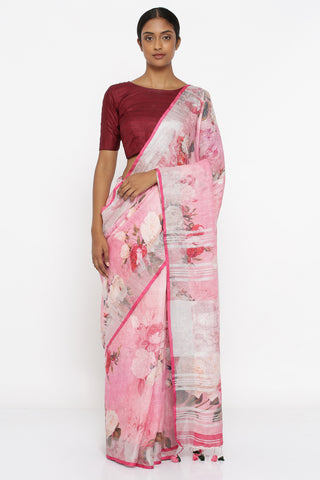 Blush Pink Pure Linen Saree with All Over Floral Print and Silver Zari Border