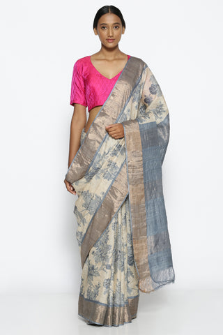 Beige Pure Tussar Silk Handloom Saree with All Over Floral Print