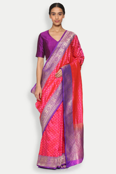 Via East copy of bright pink handloom pure silk banarasi saree with all over gold zari motifs