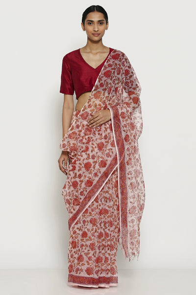 Via East pink handloom pure kota cotton saree with traditional sanganeri print