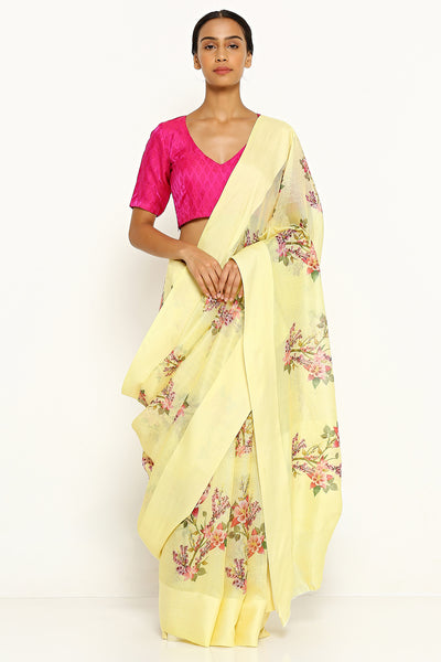 Via East light yellow pure kota silk saree with all over floral print