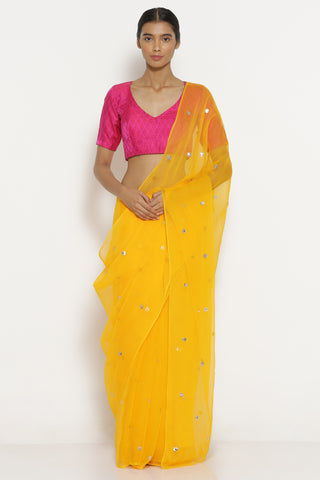 Yellow Chiffon Saree with All Over Embellishments