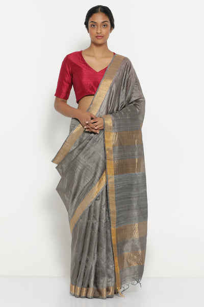 Via East slate grey handloom pure tussar silk saree with gold zari border