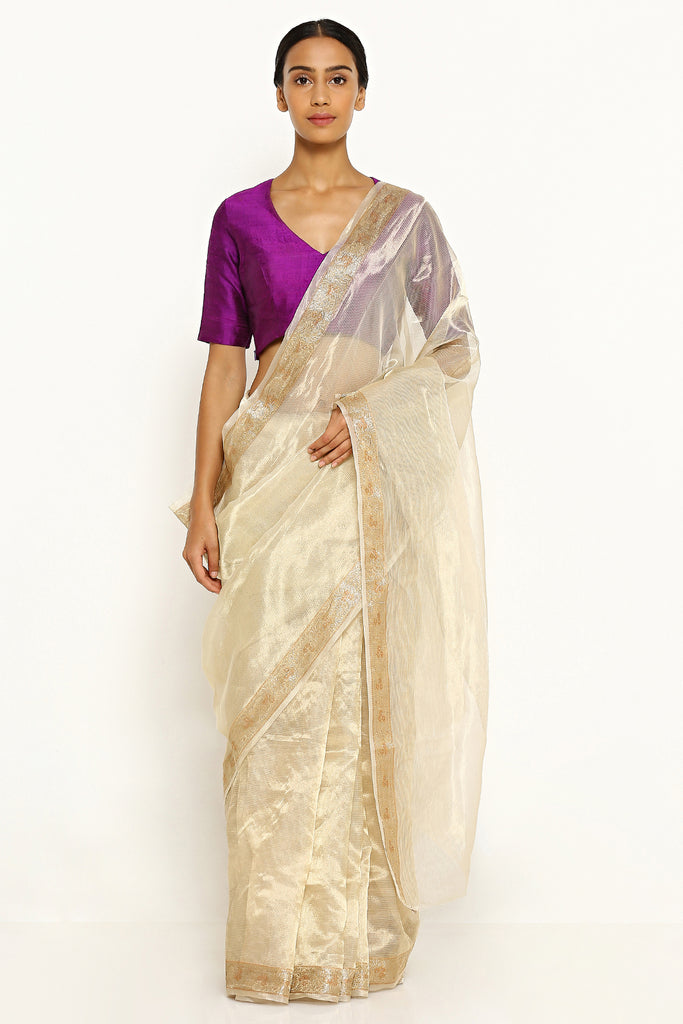 Gold Pure Tissue Kota Saree with Intricate Floral Border