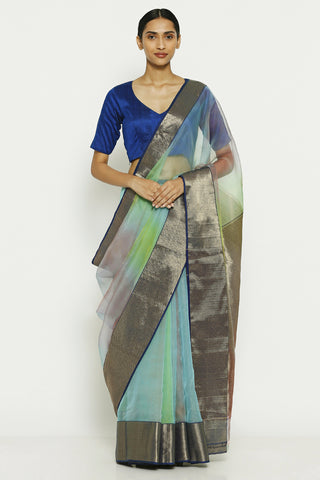 Blue Green Handloom Pure Silk Chanderi Saree with Ombre Effect and Gold Zari Border