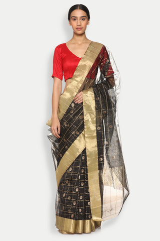 Black Handloom Silk Cotton Chanderi Saree with All Over Checked Pattern
