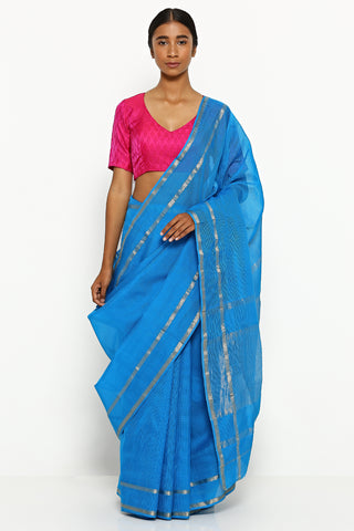 Cerulean Blue Handloom Silk Cotton Maheshwari Saree with Zari Border