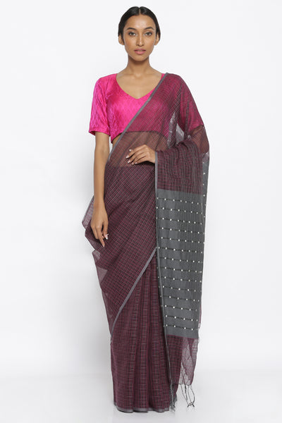 Via East plum grey handloom pure silk cotton saree with checked pattern and embellished pallu