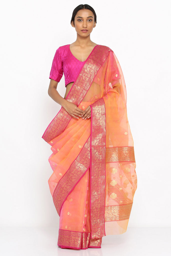 Apricot Pink Handloom Pure Silk Chanderi Sheer Saree with Allover Zari Motif and Detailed Border
