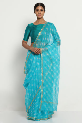 Aqua Blue Pure Silk Kota Doria Saree with Traditional Leheriya Print and Gold Zari Border