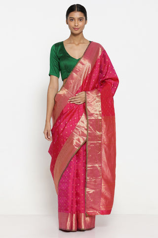 Pink Handloom Pure Silk Kanjeevaram Saree with All Over Lotus Motifs and Rich Paisley Woven Border