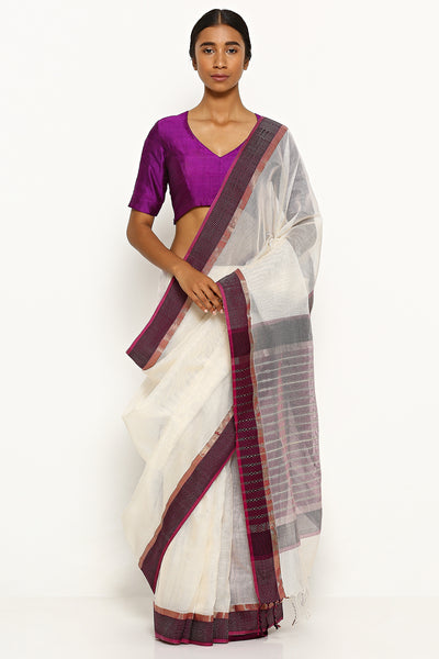 Via East white handloom silk cotton maheshwari saree with contrasting purple border