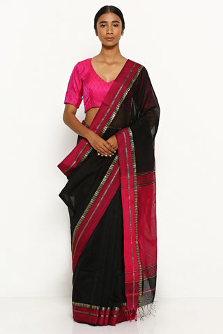Black Handloom Silk Cotton Maheshwari Saree with Contrasting Pink Border