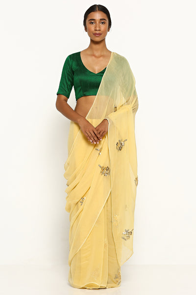 Via East beige pure chiffon saree with traditional gota patti embellishment