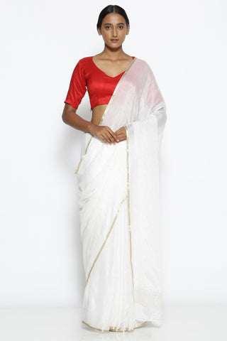 White Pure Crepe Saree with All Over Mukaish Work