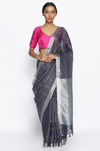 Dark Blue Pure Linen Saree with All Over Checks in Silver and Gold Zari