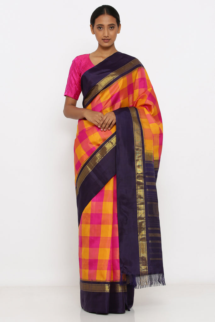 Pink-Yellow Genuine Handloom Kanjeevaram Silk Saree with Checked Pattern and Blue and Pure Zari Border