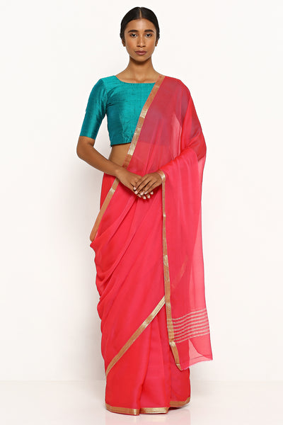 Via East fuschia pink pure wrinkled chiffon saree with woven gold zari border