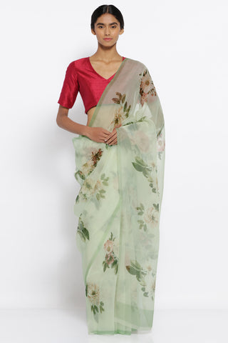 Light Green Pure Silk Organza Sheer Saree with All Over Digital Floral Print