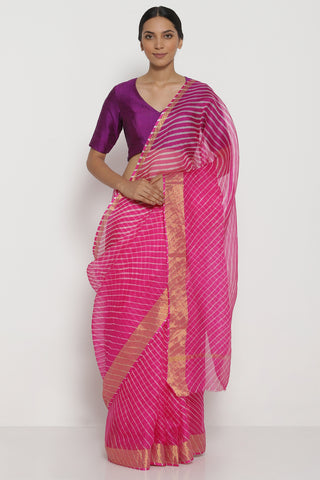 Vivid Pink Pure Silk Kota Saree with Traditional Leheriya Pattern
