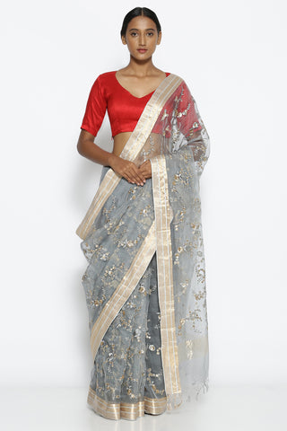 Grey Pure Sheer Silk-Organza Saree with All Over Floral Embroidery