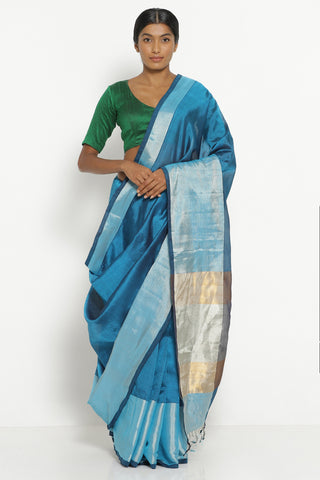 Teal Blue Handloom Silk Cotton Mangalagiri Saree with Rich Silver Border