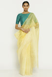Yellow Pure Silk-Organza Saree with All Over Chevron Pattern