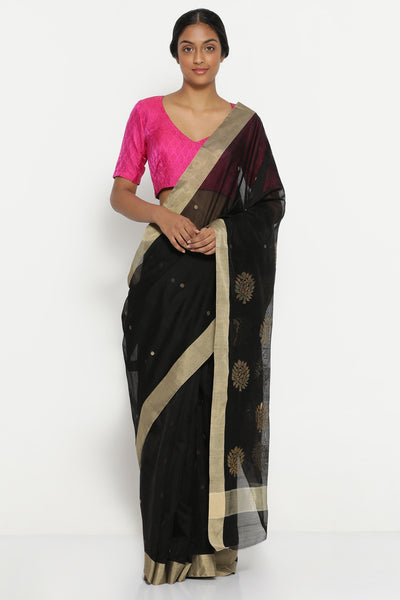 Via East black handloom pure silk cotton chanderi saree with solid gold tissue border