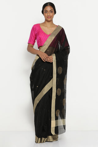 Black Handloom Pure Silk Cotton Chanderi Saree with Solid Gold Tissue Border