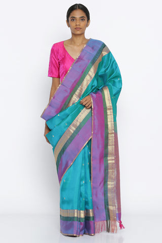 Blue Handloom Pure Silk Traditional Saree with All Over Zari Motif and Rich Detailed Border