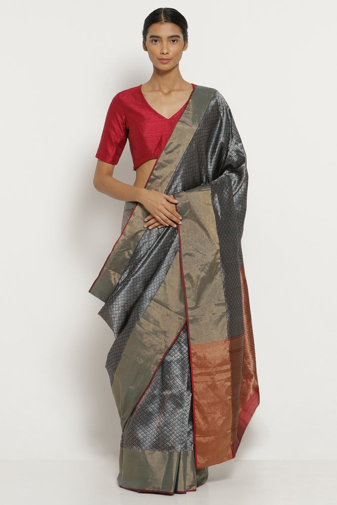Blue-Grey Handloom Pure Silk Banarasi Saree with All Over Intricate Gold Zari Motifs