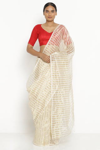 White and Gold Pure Silk Cotton Chanderi Saree with All Over Gold Tissue Stripes