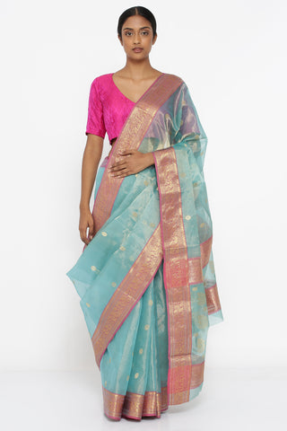 Aqua Blue Handloom Pure Silk-Tissue Chanderi Sheer Saree with All Over Zari Motif and Intricate Border