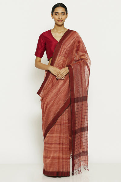 Via East pink maroon pure cotton tissue maheshwari saree with all over striped pattern