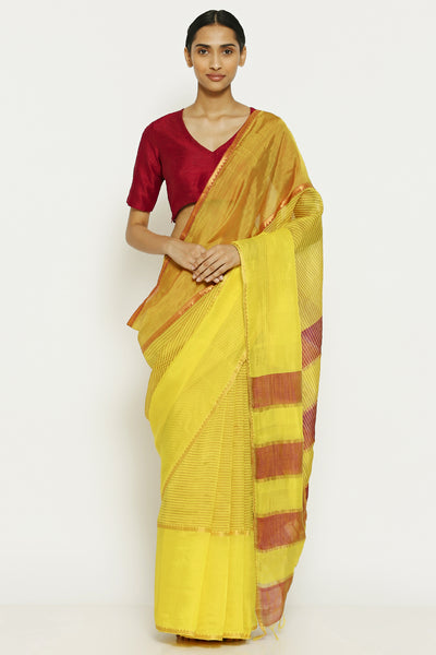 Via East daffodil yellow handloom pure cotton tissue maheshwari saree with gold zari border