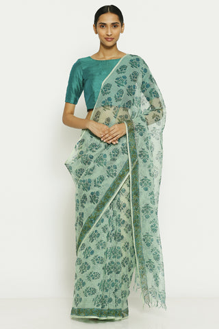 Blue Handloom Pure Cotton Kota Doriya Saree with Traditional Sanganeri Print