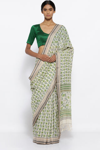 Beige and Green Cotton Kota Doria Saree