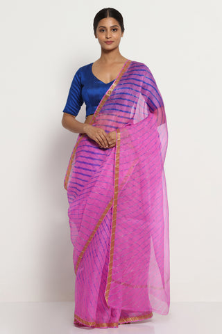 Pink Blue Pure Silk Kota Saree with Traditional Leheriya Print and Gold Zari Border