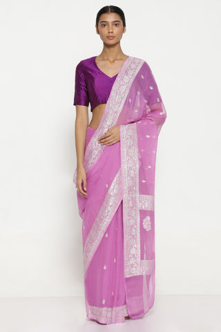 Pink Pure Silk-Chiffon Banarasi Sheer Saree with All Over Silver Zari Motifs and Rich Border