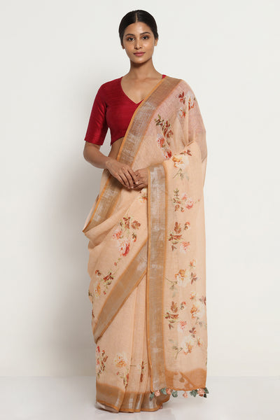 Via East peach pure linen saree with all over floral print and silver zari border